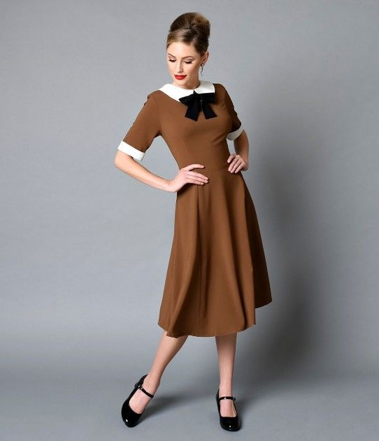 Hell Bunny 1940s Style Tobacco Brown Short Sleeve Kim Swing Dress