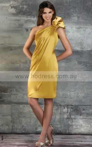 Satin One Shoulder Natural A-line Short Bridesmaid Dresses 0740268--Hodress
