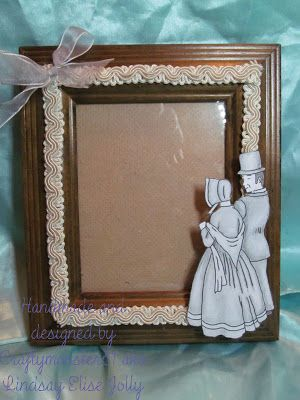 For this week I have just done a quick little frame, it was very light wood so I have just inked it with Distress Inks, added some seam binding and then used an image fromLEJ Designs shaded with pencils and added a little bow.
