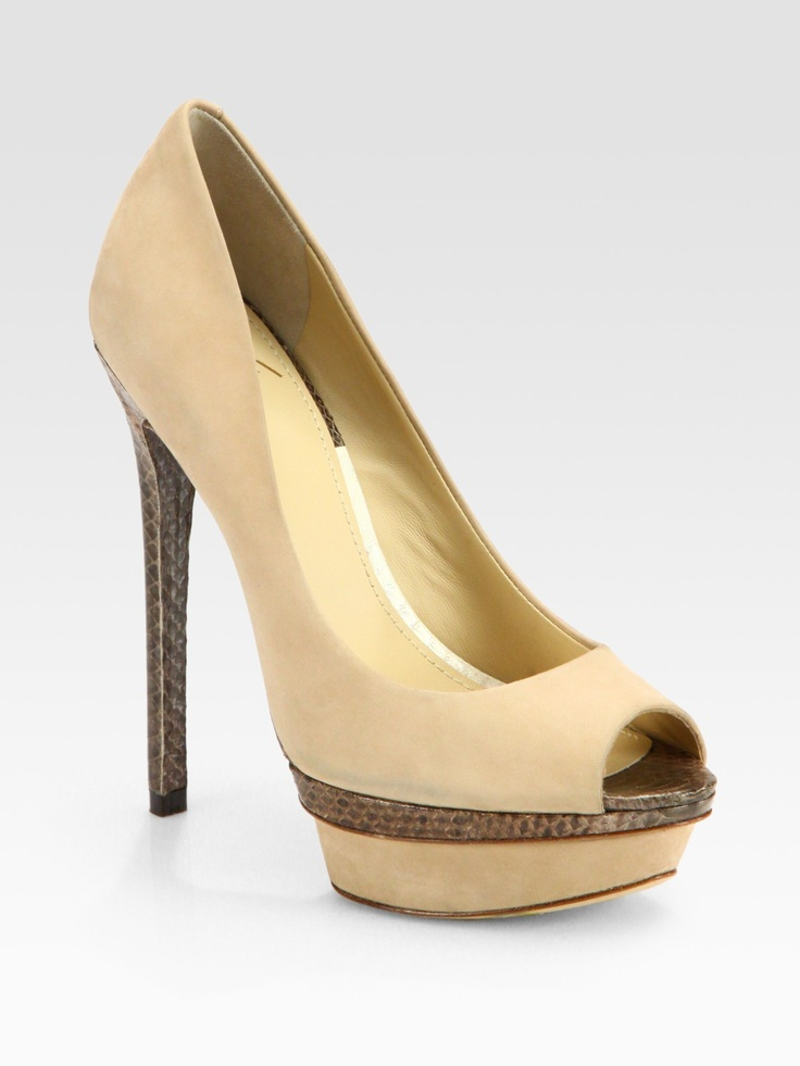 BRIAN ATWOOD  Beige Snakeprint Leather and Suede Platform Pumps