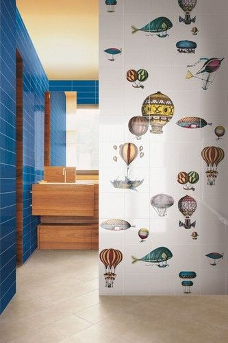 Color and whimsy come together in these Piero Fornasetti Macchine Volanti tiles produced by Bardelli www.bardelli.it