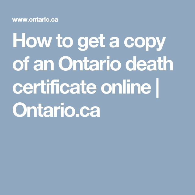 ontario application for death certificate