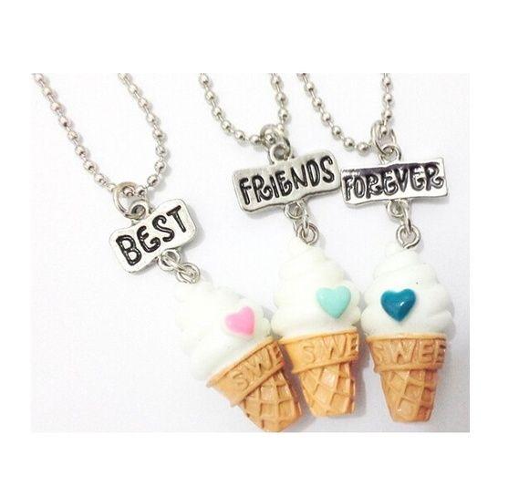 3 Colares Best Friends Forever Sorvetes
