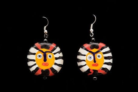 Javanese Hand Blown Yellow, Red, Black, and White Circular Glass Face Beads Earrings
