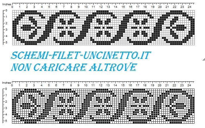 Bordo onde fiorellini schema filet uncinetto gratis for Schemi bordure uncinetto filet