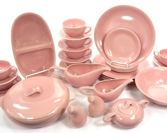 Vintage Housewares 1950\u0027s Vernonware Casual Calif Pink Dinnerware Set / Salt and Pepper / Covered Casserole / Cream and Sugar / Gravy Boat  sc 1 st  Pinterest & 798 best Dinnerware 1920s-70s: N-Z Company Names images on Pinterest ...