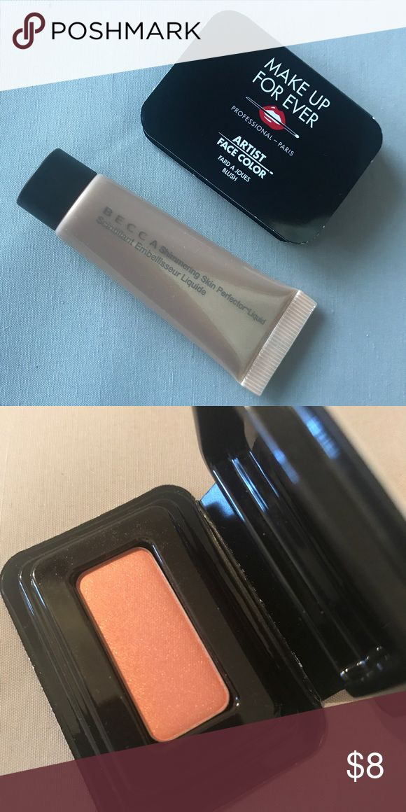 Beauty bundle New sealed Becca skin perfector in shimmering opal 6ml and Makeup For Ever blush in B302 shimmering peach 1.3g. Selling as bundle only, price firm Sephora Makeup