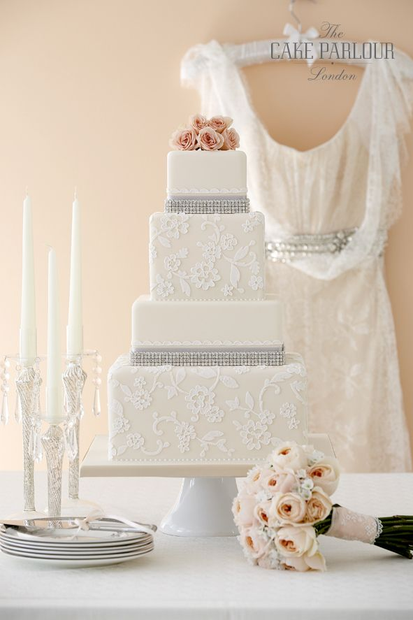 'LACE GLAMOUR' Wedding Cake - Applique lace sugar techniques with over-piping to resemble classic cord lace and embellished with non-edible diamante trim.
