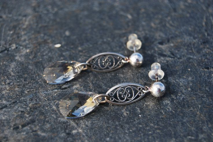 Silver and gray crystal earrings by NorthernlightsNO on Etsy