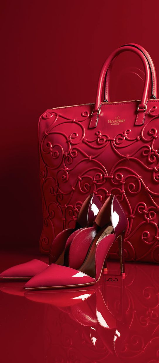 Valentino ~ Red + Silver Patent Leather Pumps and Red Textured Satchel
