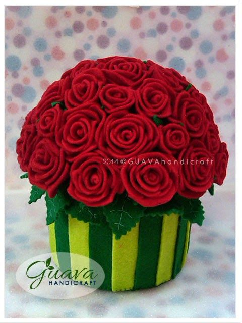 Decorated Tissue Box | Red Roses Bouquet | Felt