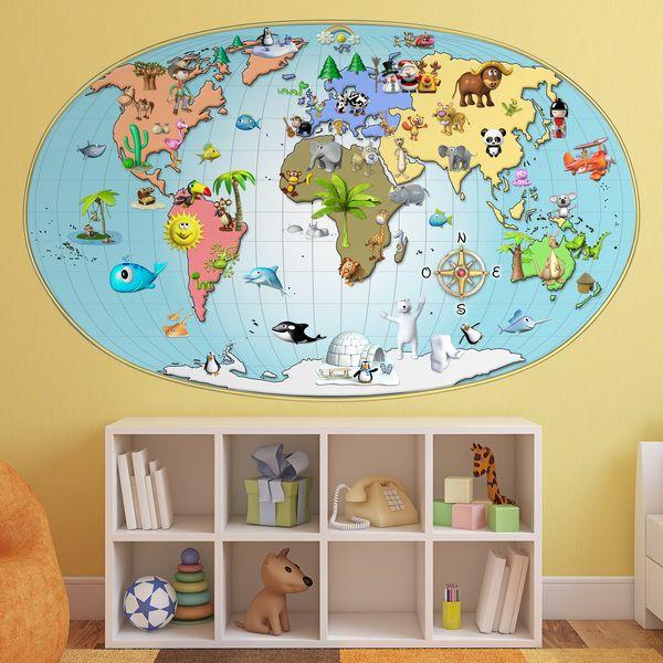 Mappa del mondo bambini per decorare una parete #mappa #politica #adesivi #murali #vinile #deco #decorazione #muro #StickersMurali