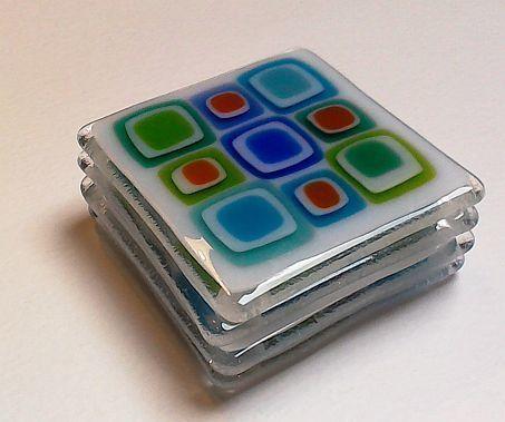 Fused Glass coaster set of 4 Retro Square 8.5cm