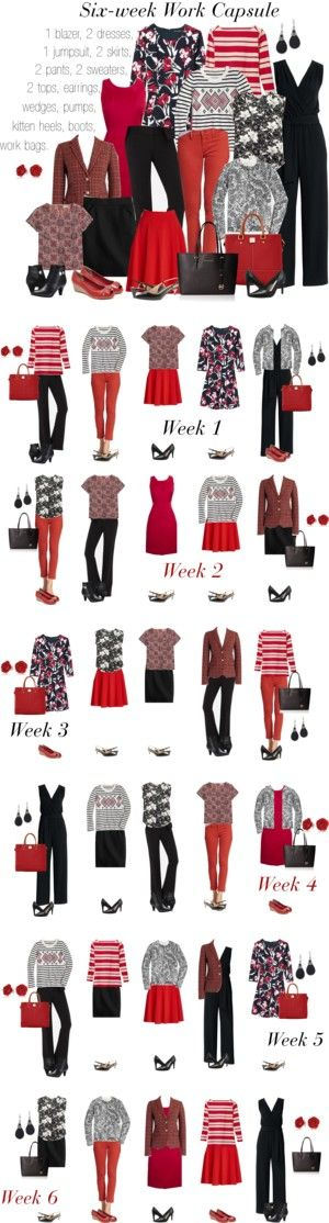 Red & Black: 6-week work capsule by kristin727 on Polyvore featuring Canvas…