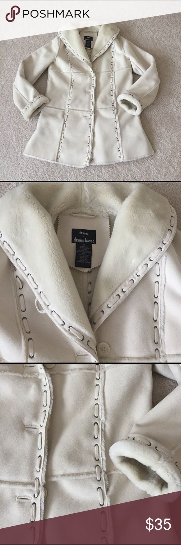 Dennis Basso Coat Famous designer coat by Dennis Basso; beautiful Faux shearling with details; size is XS but I would say run big, could fit size medium; I am a size 4/6 in a dress size and this fits me perfectly; has a very nice shape; color is cream; no stains or rips; smoke free home🌺 Jackets & Coats