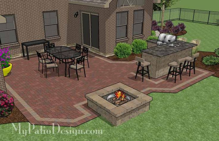 Large Brick Patio Design with Outdoor Kitchen and Stone Fire Pit. | Plan No. 1144rr | Download Installation Plan at MyPatioDesign.com