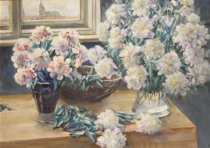 Aleksander AUGUSTYNOWICZ ,Peonie, 1924 , akwarela, karton, 78 x 105 cm