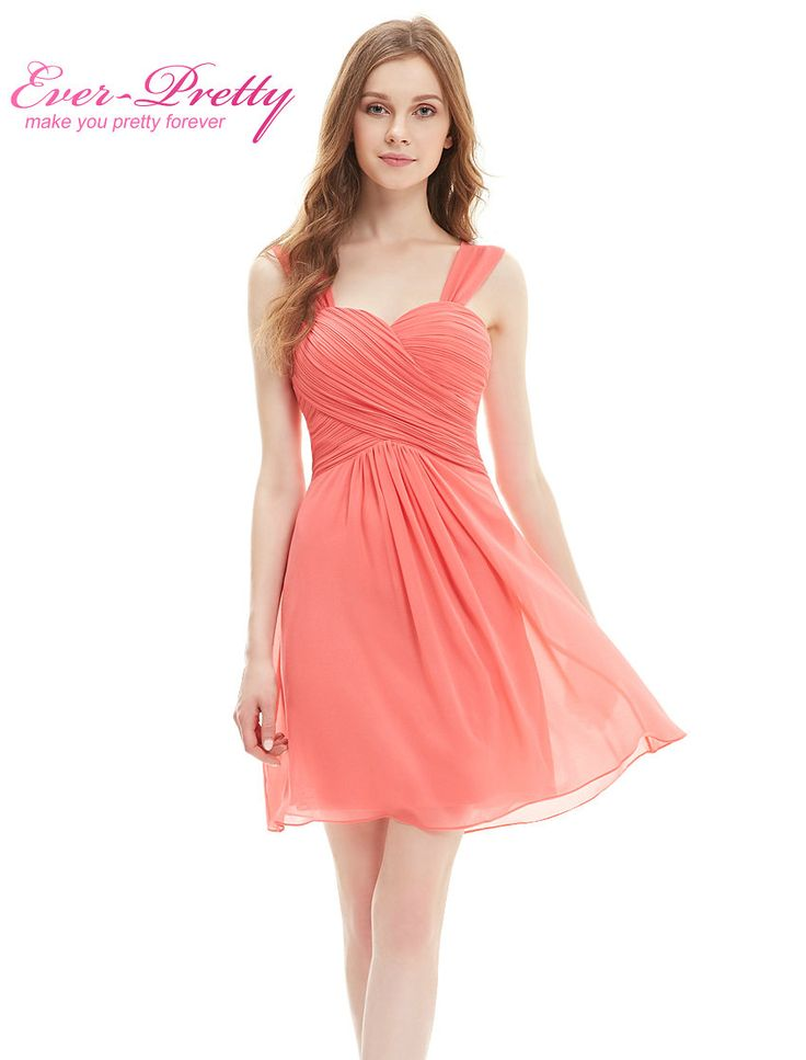 웨딩 파티 드레스 EP03539 우아한 프릴 패딩 무릎 길이 쉬폰 짧은 신부 들러리 드레스