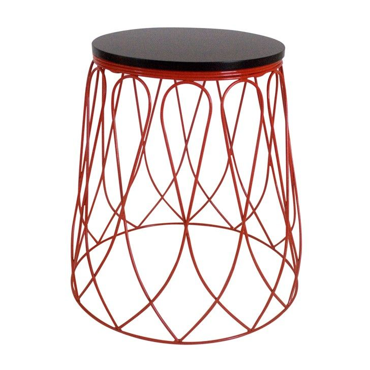 Indigi Designs Loop Metal Side Table In Red Furniture
