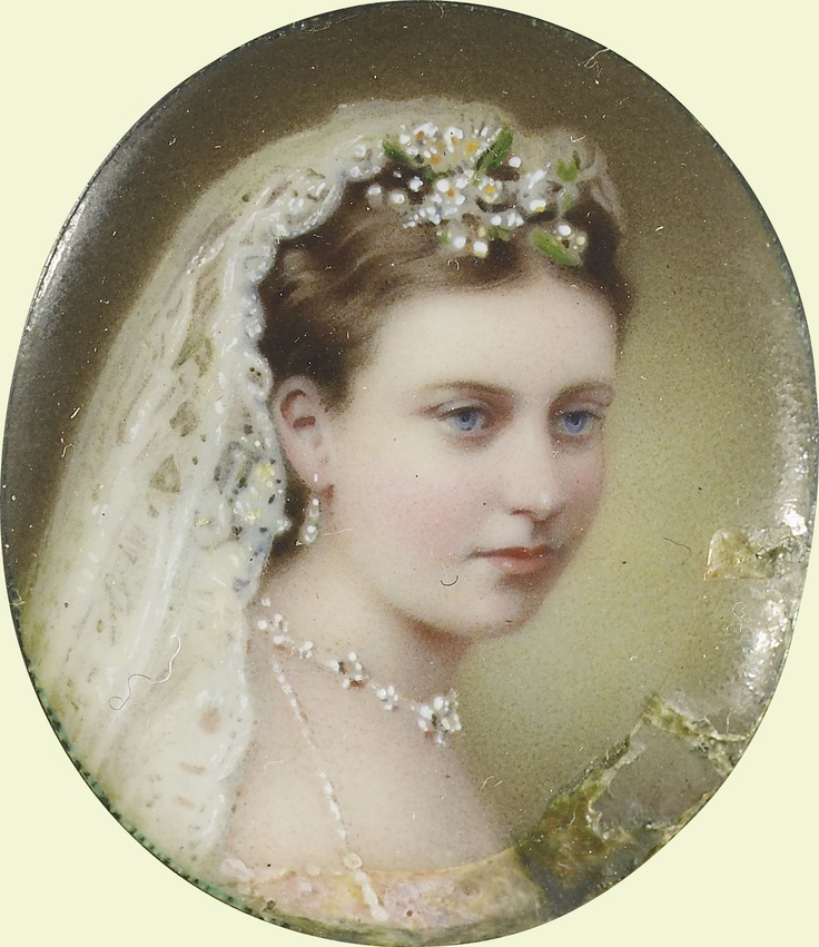 Princess Helena (1846-1923, wearing the opal necklace and earrings given to her by her mother as a wedding present, 1866. The gift also included a brooch to match, and all the jewelry was  to provided by Messrs R. & S. Garrard & Co., Haymarket. This miniature was painted by William Charles Bell.