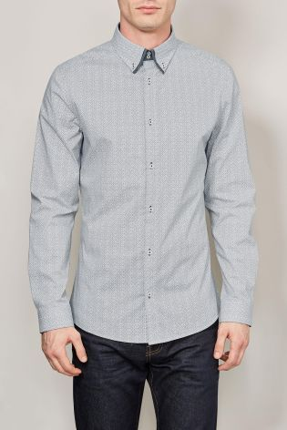 White Print Double Collar Shirt