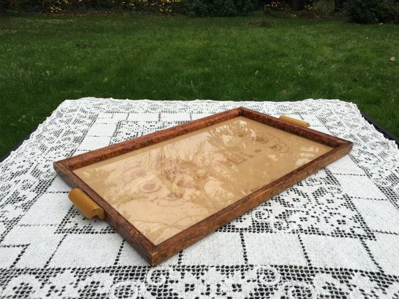 Rustic Swedish Tray/Glass Top Tray/Handmade Wood Tray/ 10 x 16,  Scandinavian Serving Tray with Carving of House, Asplunda, Rustic Folk Art