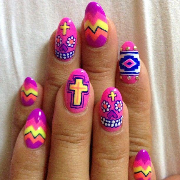 Neon Mexican skull art, chevron, cross gel nails!
