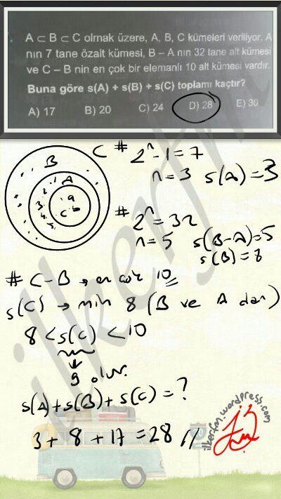 Soruda alt küme ve fark ilişkilerine dikkat! #kumeler | Fizik Matematik