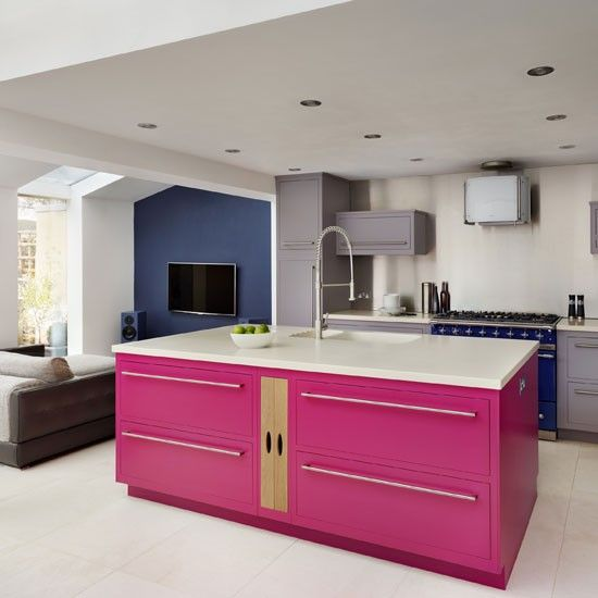 White-painted-kitchen-with-pink-island-unit-Homes--Gardens-Housetohome