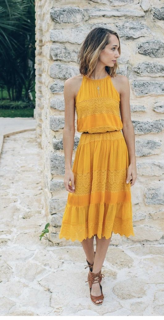 ~~~Want! Love this mustard dress with Lacey detail. Stitch fix spring summer 2017 fashion trends #affiliatelink