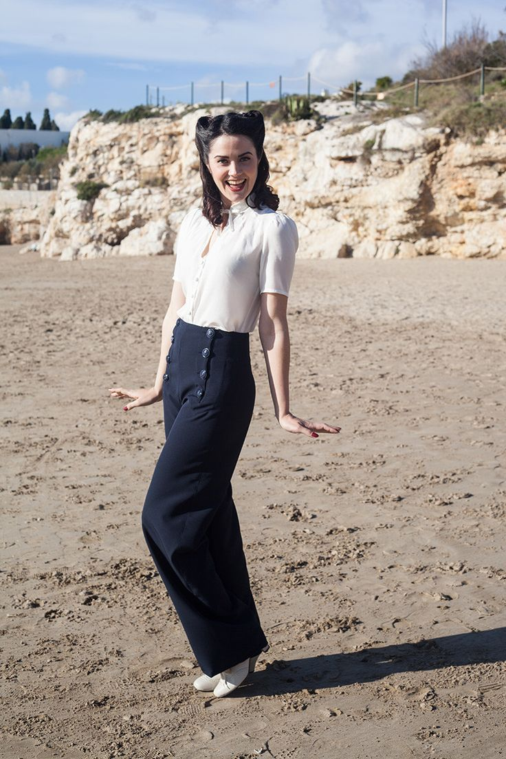 1940s Sailor Pants Navy €82.00 AT vintagedancer.com