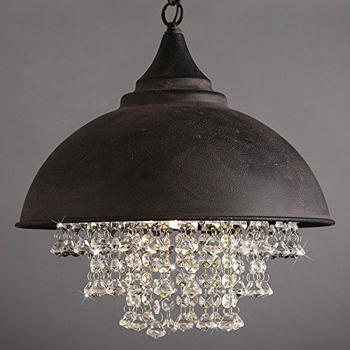 ONEPRE Antique Industrial Crystal pendant Lamp, Vintage Art Deco Ceiling Pendant Lights with Elegant Transparent Crystal, Retro Color Hanging Lighting for Restaurant, Living Room, Dining Room,kitchen, coffee bar, restaurant,club or hotel room, Balcony, Shop, Store,decorations,Hallway, Club, Office,Meeting room: Amazon.co.uk: Lighting