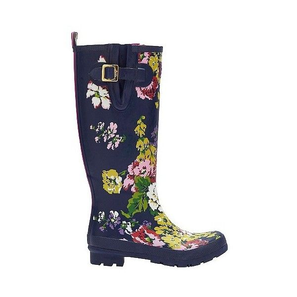 Women's Joules Floral Rain Boots ($75) ❤ liked on Polyvore featuring shoes, boots, navy, rubber boots, flower print boots, navy blue boots, joules boots and floral print boots