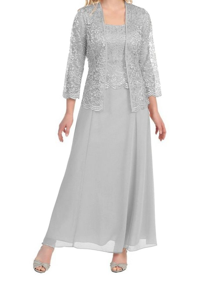 Womens Long Mother of the Bride Plus Size Formal Lace Dress with Jacket (Medium, Silver)