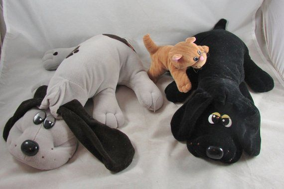 "Tonka Pound Puppy Dogs 19"" with Kitten Black Plush Puppy"