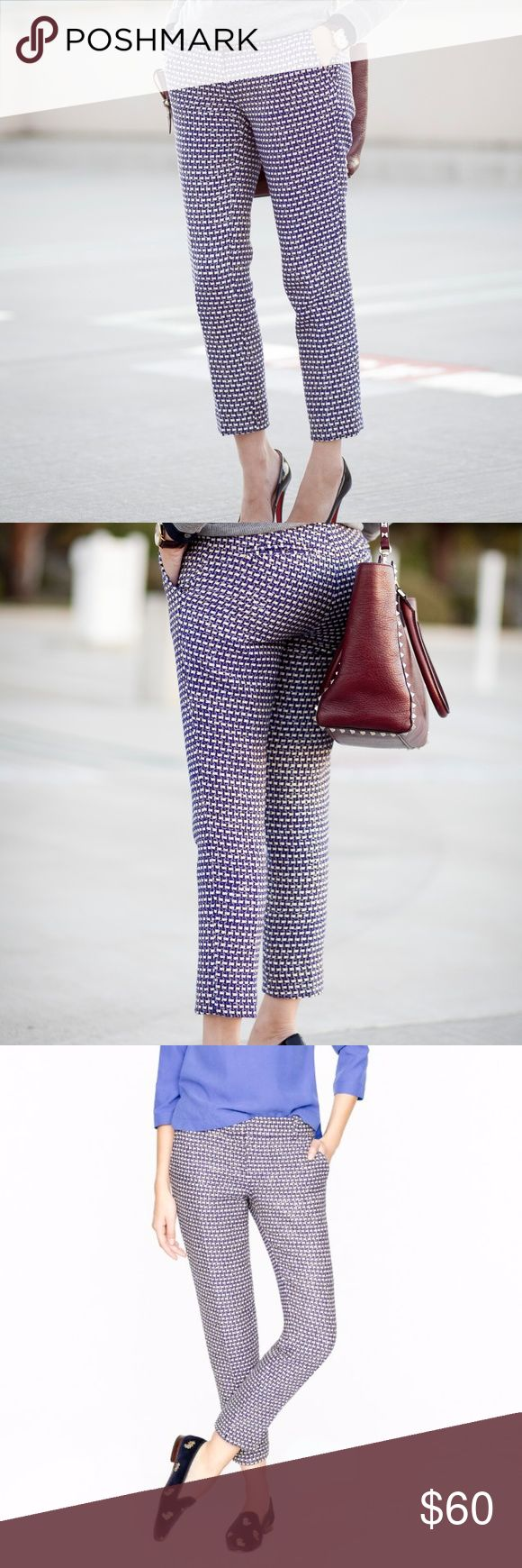 J.CREW Café Capri Cropped Pants Navy Tweed $148 J.CREW Café Capri Cropped Pants Navy Tweed Sz 2  The famous café capri (one of our top bottoms) gets an extra dose of polish in this lightweight basket-weave tweed our designers handpicked for its graphic colors and subtle sheen—it's woven with tinselly Lurex® threads throughout. Pair it with its matching jacket (plus the pumps, if you dare) for a classic, ladylike spin on the hookup.  Silk/cotton/viscose. City fit—our lowest rise. Sits just…