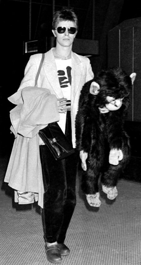 "David Bowie News (@davidbowie_news) | Twitter  ""Everybody's got something to hi-ide, 'cept for me and my monkey."""
