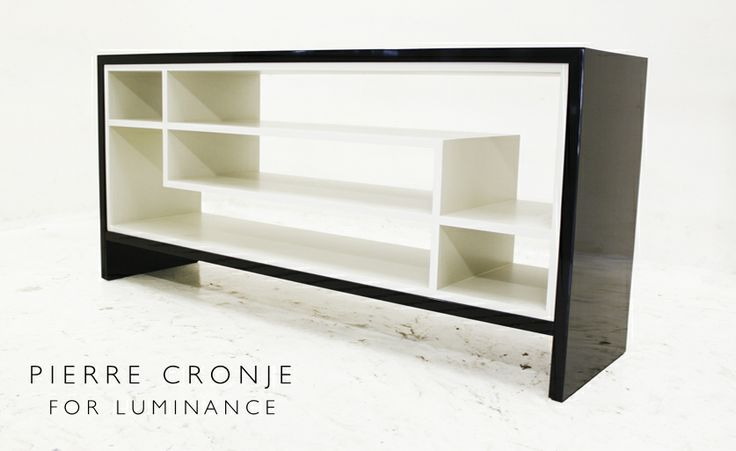 Pierre Cronje Two tone server in Mahogany.  The interior is a pale grey, the exterior black.  Custom designed by Pierre Cronje for Luminance