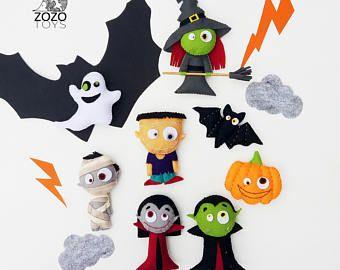 Fieltro ornamentos con imanes - juguetes sentía miedo - regalo de Halloween - Halloween lindos adornos - Halloween adornos Halloween decoración de Halloween
