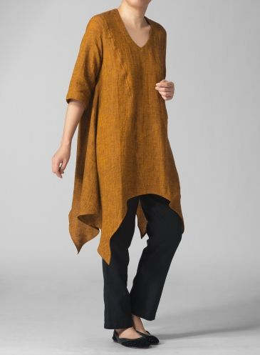 Linen V-Neck Short Sleeve Tunic