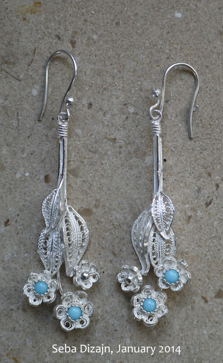 Bluebells, the newest addition to our filigree collection - Turquoise flower earrings, also available with coral or onyx