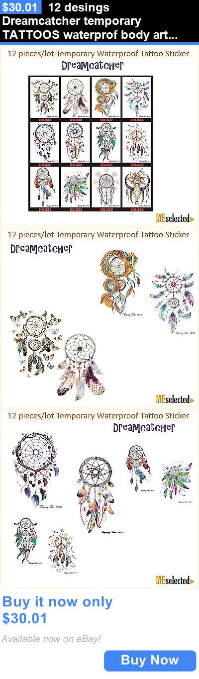 Temporary Tattoos: 12 Desings Dreamcatcher Temporary Tattoos Waterprof Body Art Flash Henna BUY IT NOW ONLY: $30.01