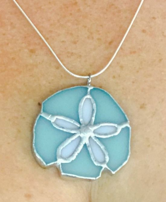 Stained Glass Sand Dollar Necklace Pendant Featured on BeachBlissDesigns.com