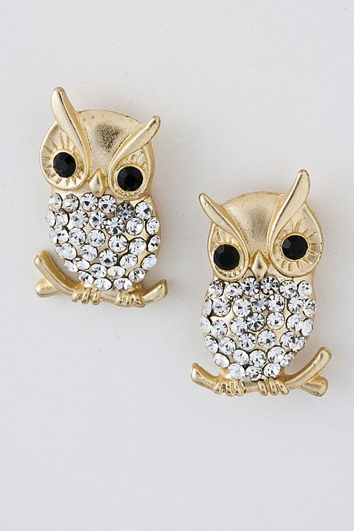 $28 These little Crystal Owl Earrings are too cute for words. With their Crystal tummy, and not just any Crystals, but Austrian Crystals, and dark charming eyes, you'll be in love with these Crystal Earrings.