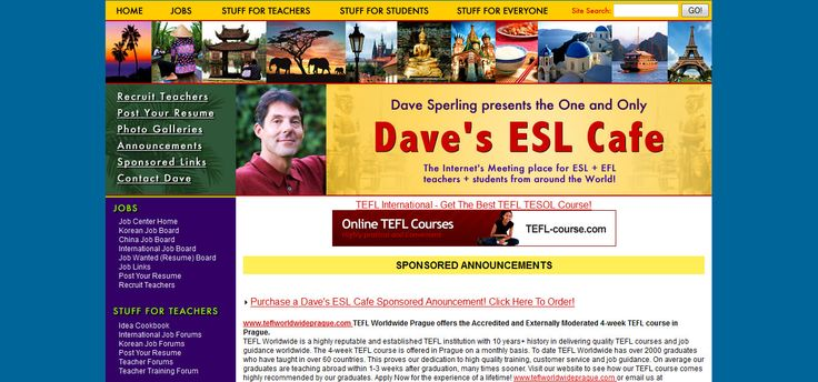A review of Dave's ESL Cafe – A Good Site For Students? has just been published at Find English Lessons for Students - please share