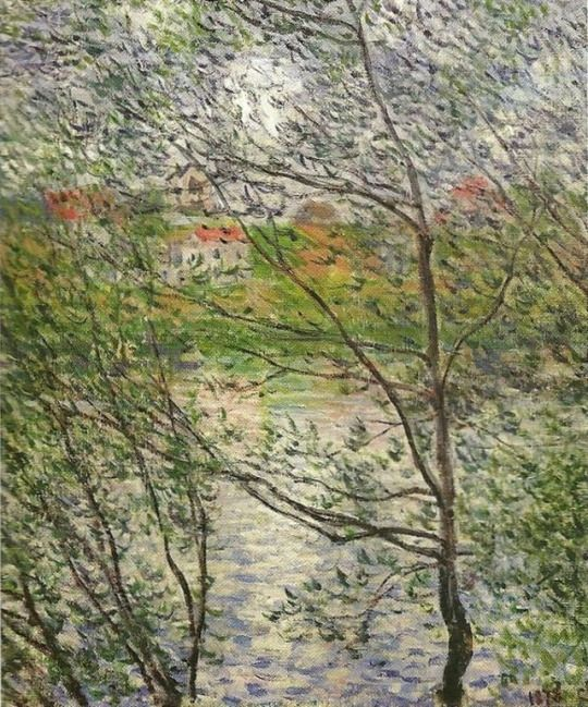 The Banks of the Seine or Spring through the Trees  -  Claude Monet, 1878    French, 1840-1926    Oil on canvas, 52 x 63 cm.    Musée Marmottan , Paris.