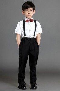suspender suit short sleeve marron bow tie