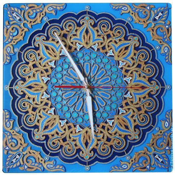 """Купить """"Арабески - 2"""" Часы настенные интерьерные - синий, арабески, арабский стиль, восточный орнамент"""