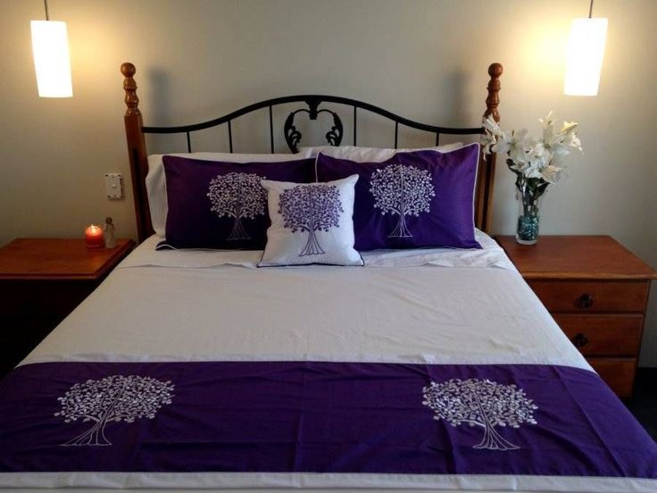 Tree of Life Bed Set  2 Pillow Cases, Cushion Cover & Bed Runner Purple $98.90