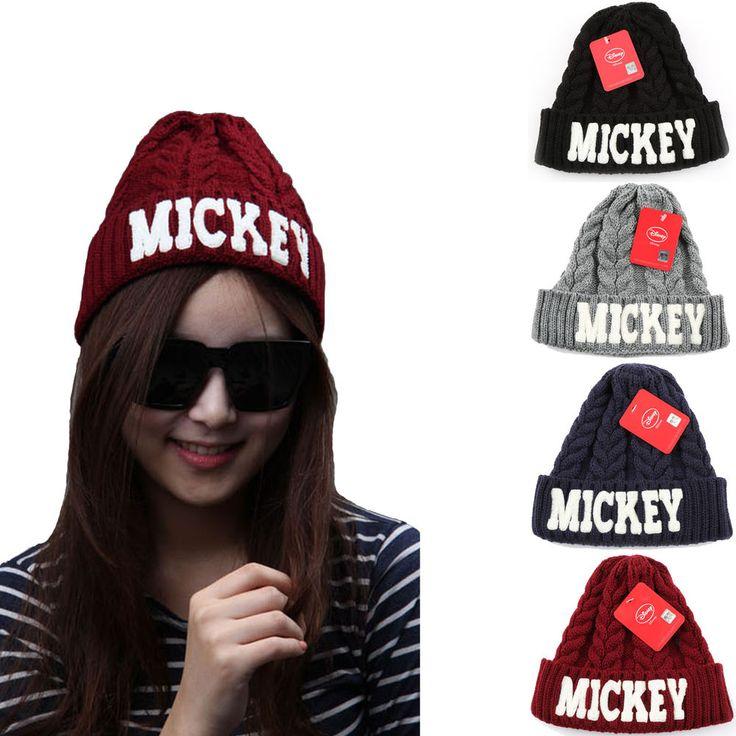 Unisex Mens Womens Mickey Mouse Disney Beanie Ribbed Crochet Knit Skull Winter #hellobincom #Beanie